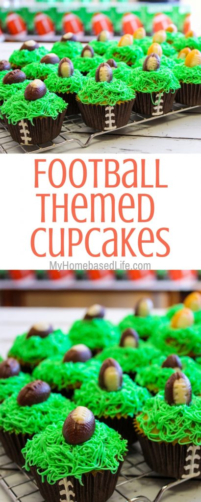 Having a Football Party? Make up these Football Cupcakes for a dessert. They are easy to do and less of a mess than cakes. #footballparty #footballcupcakes #cupcakes #myhomebasedlife   Cupcake Recipes   Themed Food   Football Themed Food   Football Party Foods   Themed Birthday Party Foods