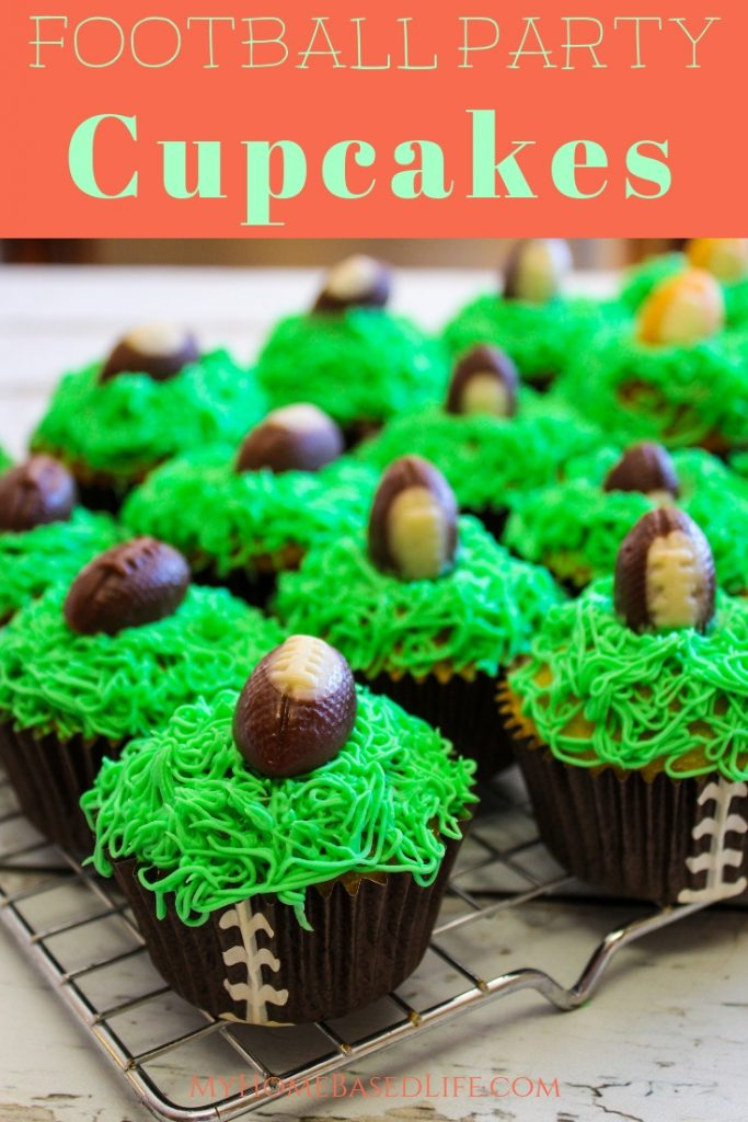Having a Football Party? Make up these Football Cupcakes for a dessert. They are easy to do and less of a mess than cakes. #footballparty #footballcupcakes #cupcakes #myhomebasedlife | Cupcake Recipes | Themed Food | Football Themed Food | Football Party Foods | Themed Birthday Party Foods
