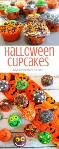 Kick your Halloween recipes into cute gear with these Halloween Cupcakes for kids. Not spooky but still Halloween themed desserts! #halloween #cupcakes #desserts #myhomebasedlife | Dessert Recipes | Halloween Recipes | Halloween Foods | Halloween Cupcakes |