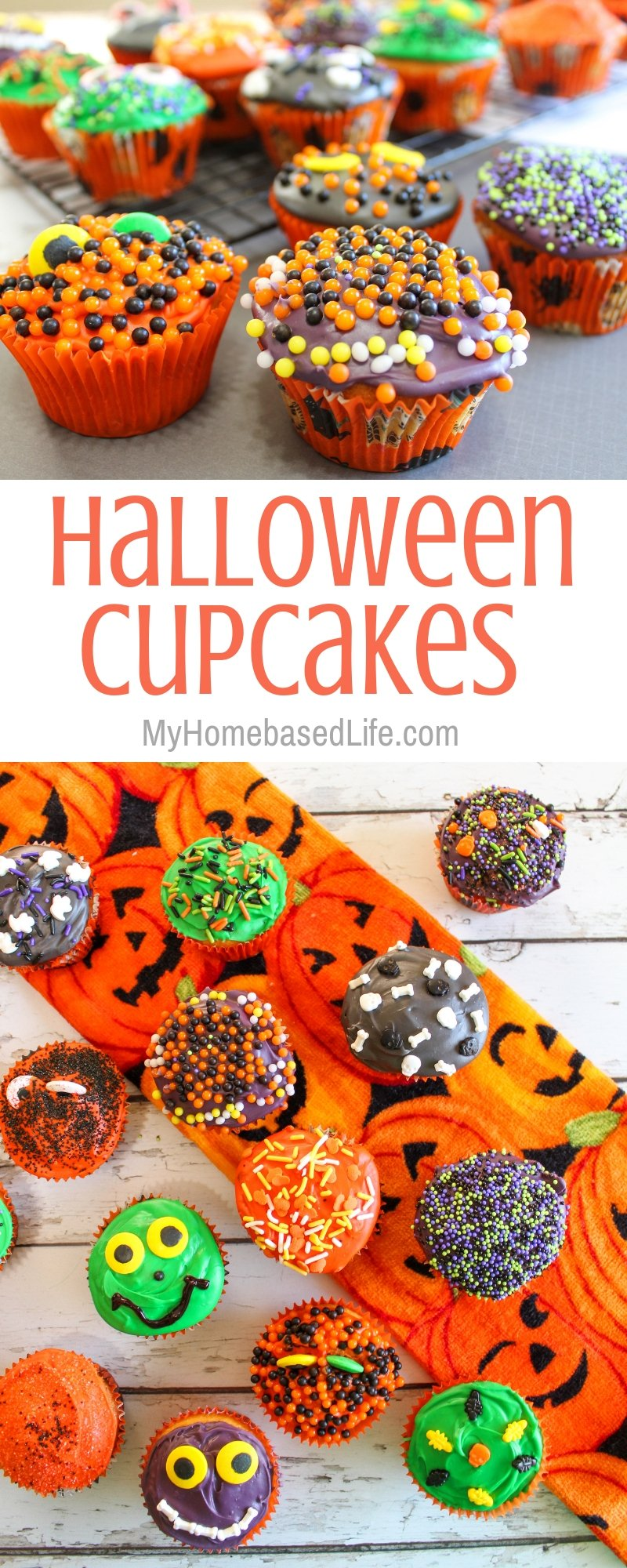 Kick your Halloween recipes into cute gear with these Halloween Cupcakes for kids. Not spooky but still Halloween themed desserts! #halloween #cupcakes #desserts #myhomebasedlife   Dessert Recipes   Halloween Recipes   Halloween Foods   Halloween Cupcakes  