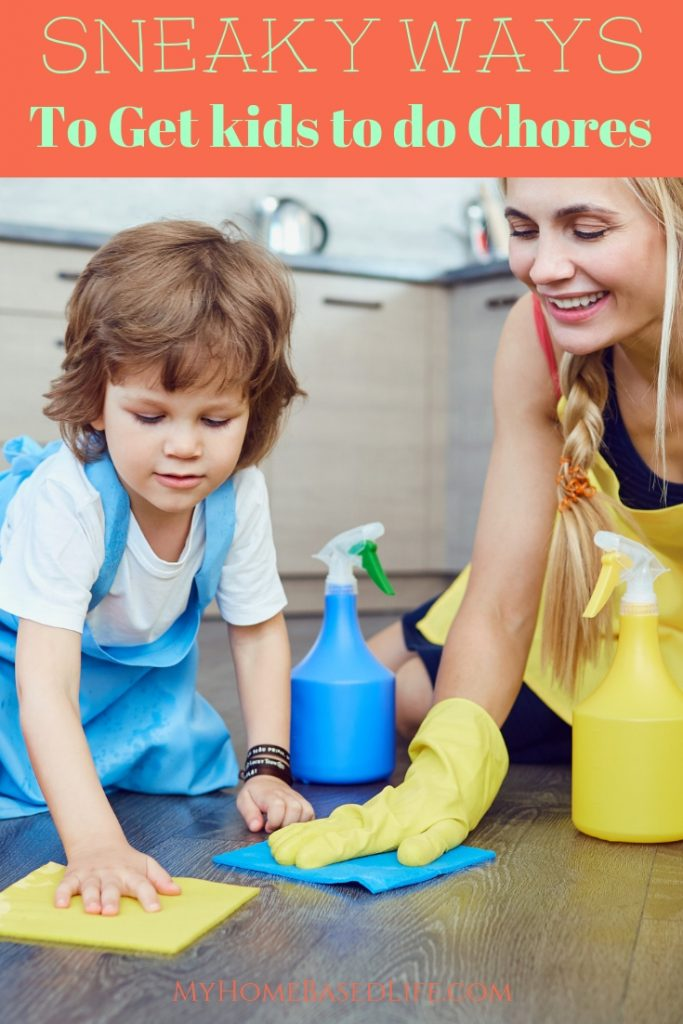 Getting your kids to do chores can be exhausting. There are sneaky ways to get your kids to do chores! You just need to know the secrets. #parenting #kidschores #parentingsecrets #myhomebasedlife | Parenting Hacks | Kids Chores | Parenting Tips |