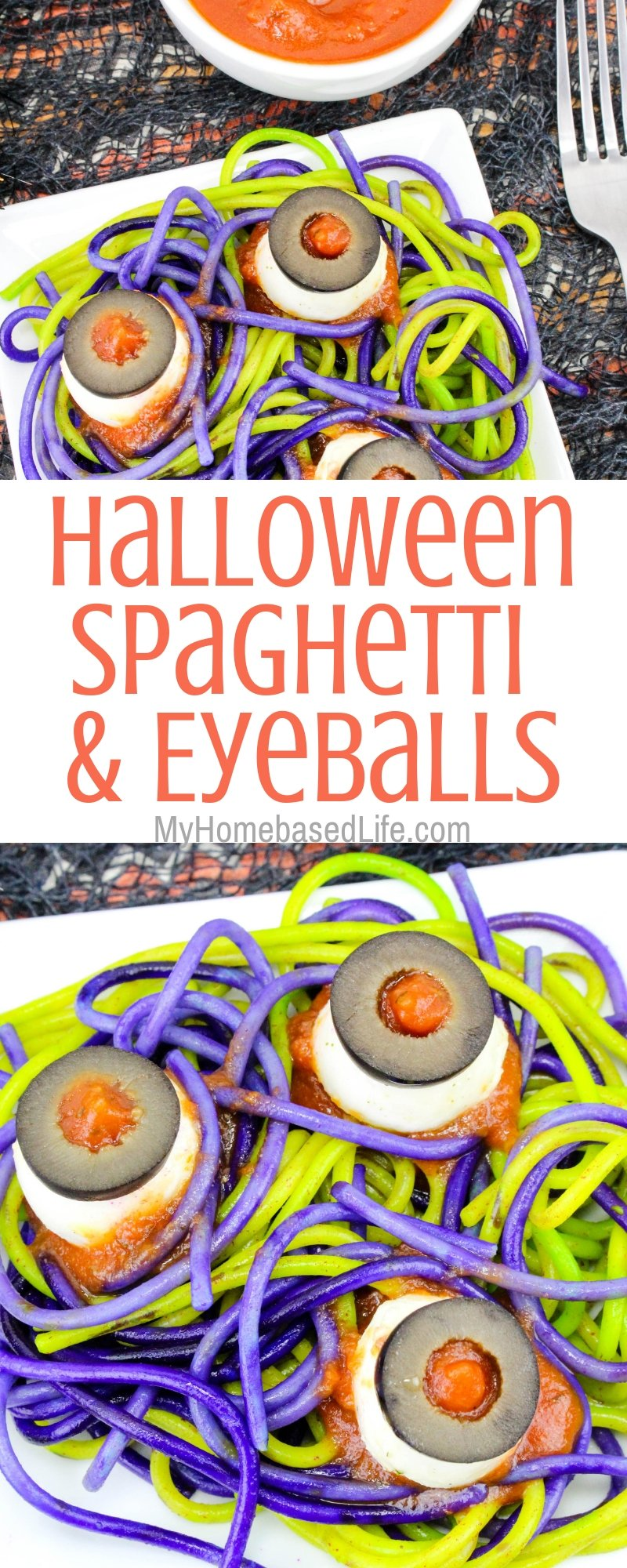 We made this Spaghetti and Eyeballs recipe this year for Halloween Dinner and they went crazy. I am always trying to do different things so it was fun. #halloweenrecipe #spaghetti #eyeballs #halloweendinner #myhomebasedlife | Halloween Dinner Recipes | Halloween Recipes | Food Art | Spaghetti Recipe | Dinner Recipe