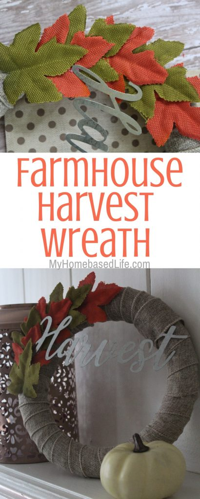My house is decked out in fall home decor. I made this Farmhouse Fall Wreath this year and am in love. Super simple and supplies from the dollar store. #falldecor #farmhousedecor #fallwreath #myhomebasedlife | Fall Wreath DIY | Farmhouse Home Decor | Fall Home Decor | Simple Fall DIY | Dollar Store Craft