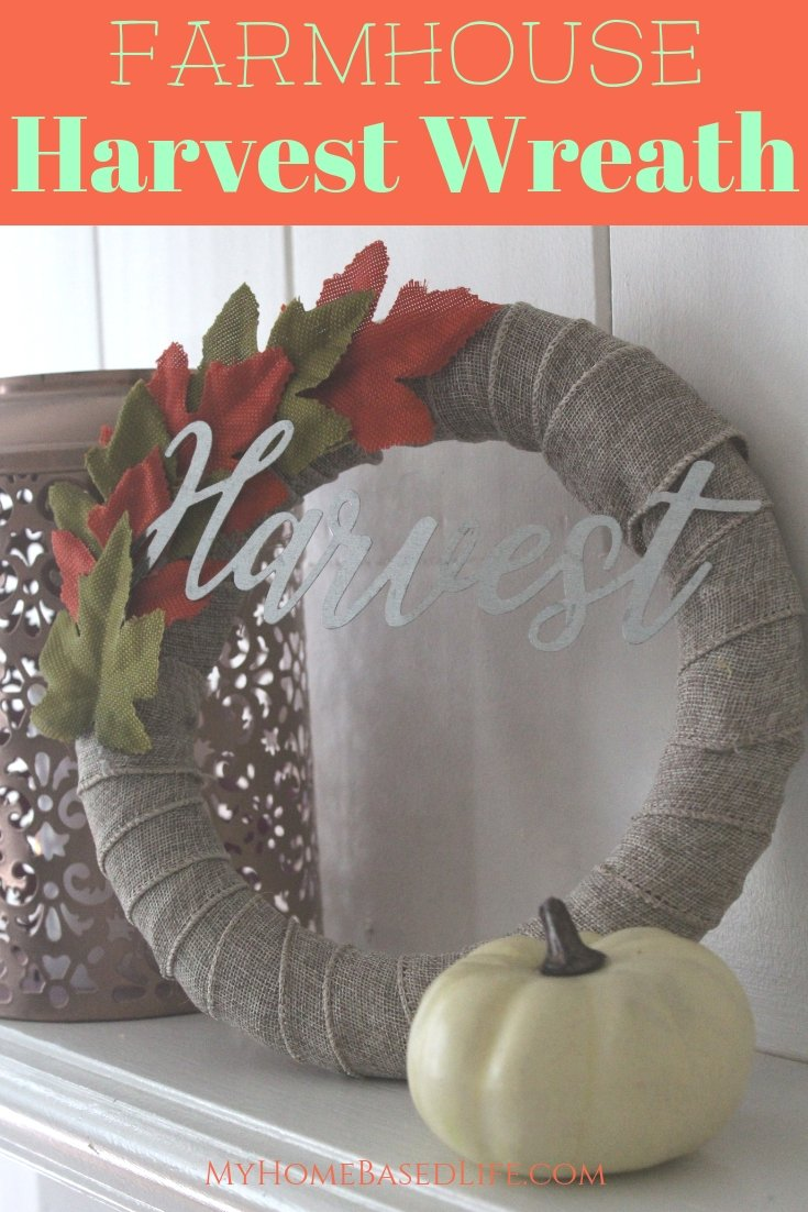 My house is decked out in fall home decor. I made this Farmhouse Fall Wreath this year and am in love. Super simple and supplies from the dollar store. #dollarstorecraft #farmhousedecor #falldecor #fallwreath #myhomebasedlife | Fall Home Decor | Dollar Store Craft Ideas | Fall Wreath DIY | Farmhouse Decor | Farmhouse Fall Wreath