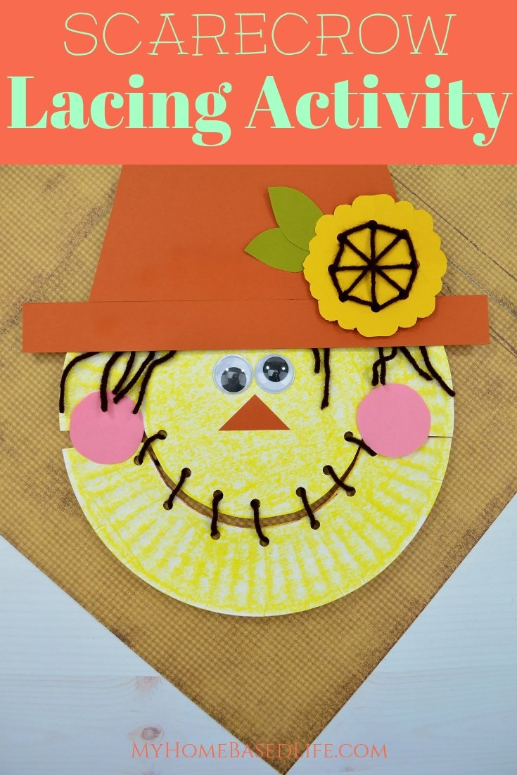 This Scarecrow Paper Plate Lacing Activity is such a great way to teach your little ones how to maneuver their little fingers and learn fine motor skills. #finemotorskills #scarecrow #lacingactivity #myhomebasedlife | Lacing Activities | Fine Motor Skills Activities | Homeschooling | Preschool Activities | Easy Toddler Crafts | Scarecrow Crafts for Kids