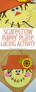 ThisScarecrow Paper Plate Lacing Activity is such a great way to teach your little ones how to maneuver their little fingers and learn fine motor skills. #finemotorskills #scarecrow #lacingactivity #myhomebasedlife | Lacing Activities | Fine Motor Skills Activities | Homeschooling | Preschool Activities | Easy Toddler Crafts | Scarecrow Crafts for Kids