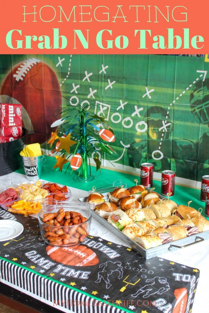 Enjoy the football game and all the tailgating perks from the comfort of your own home. Make an amazing Grab N Go Homegating Table for your next game day.. @bashas @drpepper #homegating #football #myhomebasedlife #ad | Homegating Ideas | Homegating Food ideas | Grab N Go Food Table | Football Food Ideas |