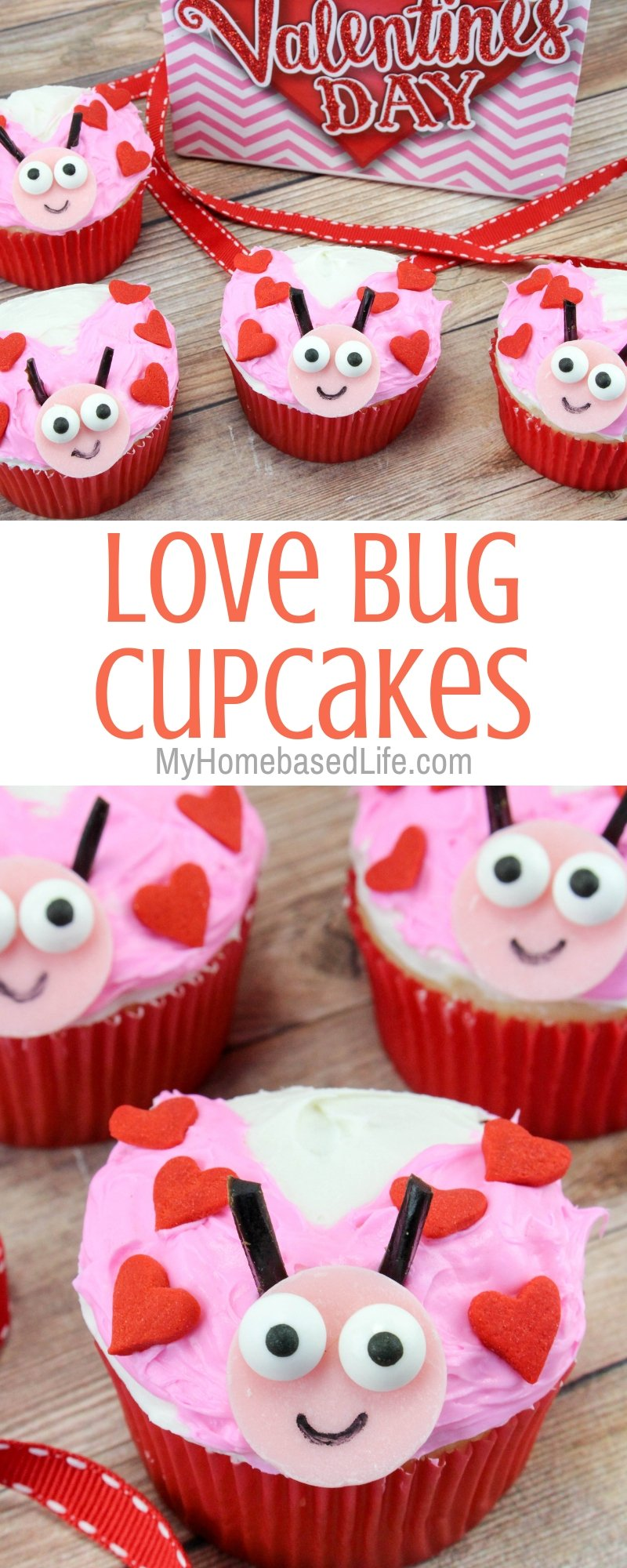 I have the perfect dessert recipe for you to make for your kiddos this Valentine's Day. These Love Bug Cupcakes are super easy and simple. #valentinesday #dessertrecipe #lovebugs #myhomebasedlife   Valentine's Day Desserts   Food Art   Love Bug Recipes   Cupcake Recipes   Chocolate Desserts   Simpler Desserts  