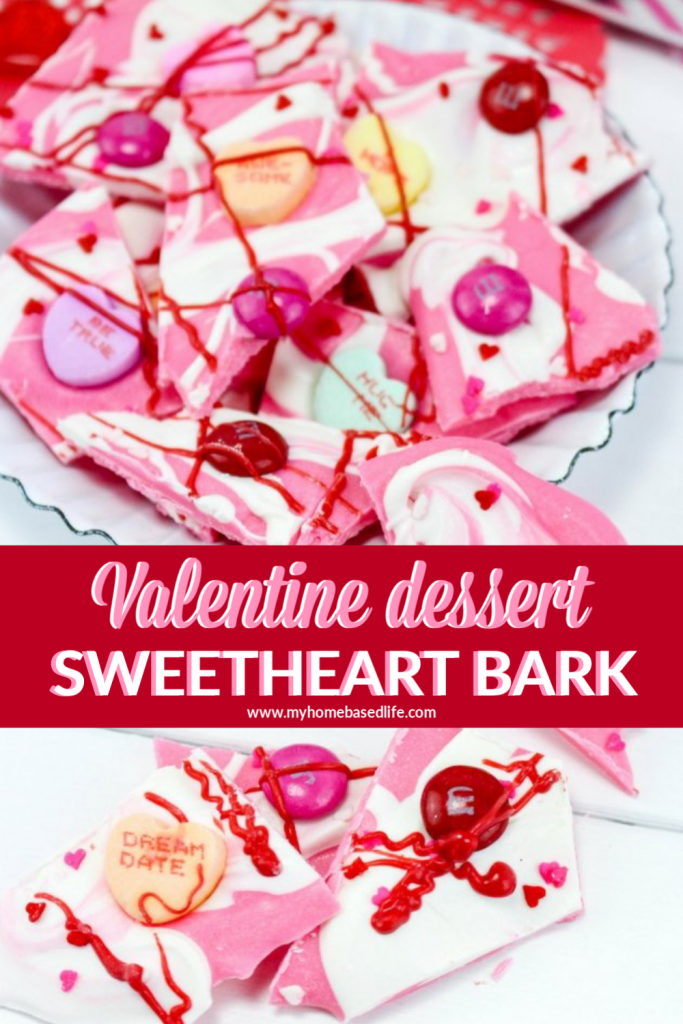 Valentine's Day sweetheart bark easy dessert recipe