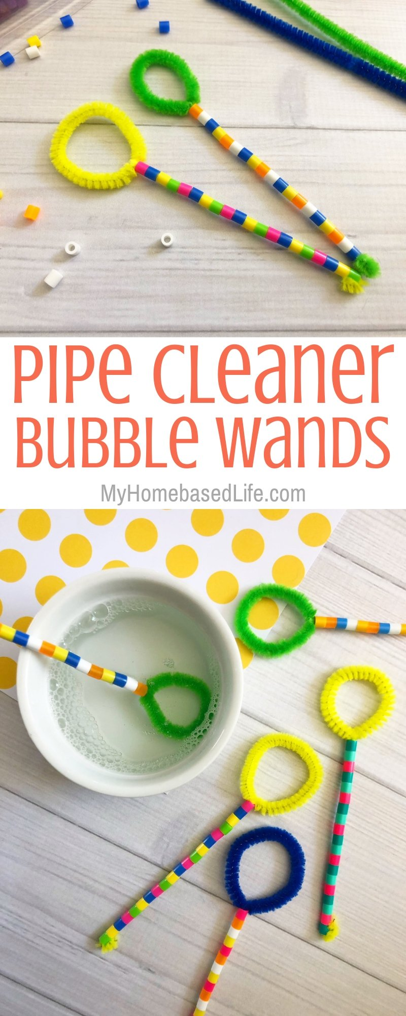 This year we made our very one customizable Bubble Wands and my kids erupted with joy. Follow these simple steps to make yours. #kidsactivity #kidsdiy #myhomebasedlife #bubble #spring activity | Kids Activity | Kids DIY | Simple Bubble Wands | Pipe Cleaner Activities |