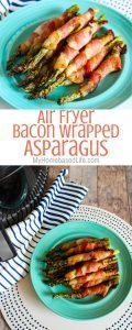 If you are looking for the juiciest recipe for Bacon Wrapped Asparagus this is it and it's made in the Air Fryer! Ready in under 15 minutes. #airfryerrecipe #airfryer #baconwrappedasparagus #sidedish #myhomebasedlife | Side Dish Recipe | Asparagus Recipe | Bacon Wrapped Foods | Air Fryer Recipes | Easy Air Fryer Recipes |