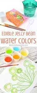 The next time you're looking for an activity to do with the kids or even at a birthday party, check out this Edible Jelly Bean Watercolors. #kidsactivity #myhomebasedlife #springactivities #painting #watercolor | Easy Kids Activity | Watercoloring for Preschoolers | Activities for Kindergarteners | Spring Activities for kids