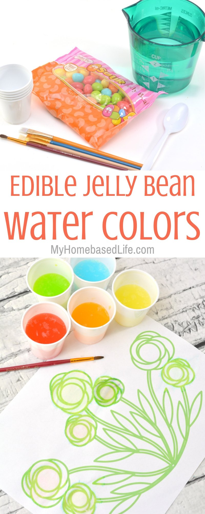 The next time you're looking for an activity to do with the kids or even at a birthday party, check out this Edible Jelly Bean Watercolors. #kidsactivity #myhomebasedlife #springactivities #painting #watercolor   Easy Kids Activity   Watercoloring for Preschoolers   Activities for Kindergarteners   Spring Activities for kids