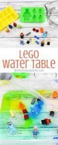 Prep this Lego Water Table for your kids the day before and let them play all afternoon. The simplest of activities bring so much joy to kids lives. #lego #watertable #kidsactivities #myhomebasedlife #sensoryplay | Sensory Tables | Kids Activities | Lego | Water Table for Kids | Kids DIY | Summer Activities | Spring Outdoor Activities