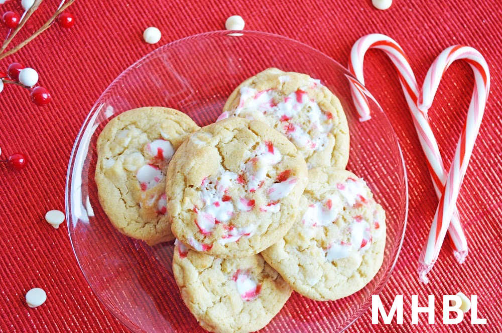 festive Christmas white chocolate candy cane cookies
