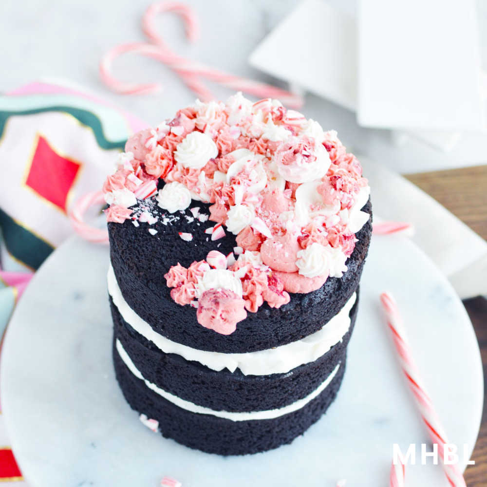 chocolate peppermint cake with buttercream frosting a fun and festive holiday cake recipe that uses candy canes