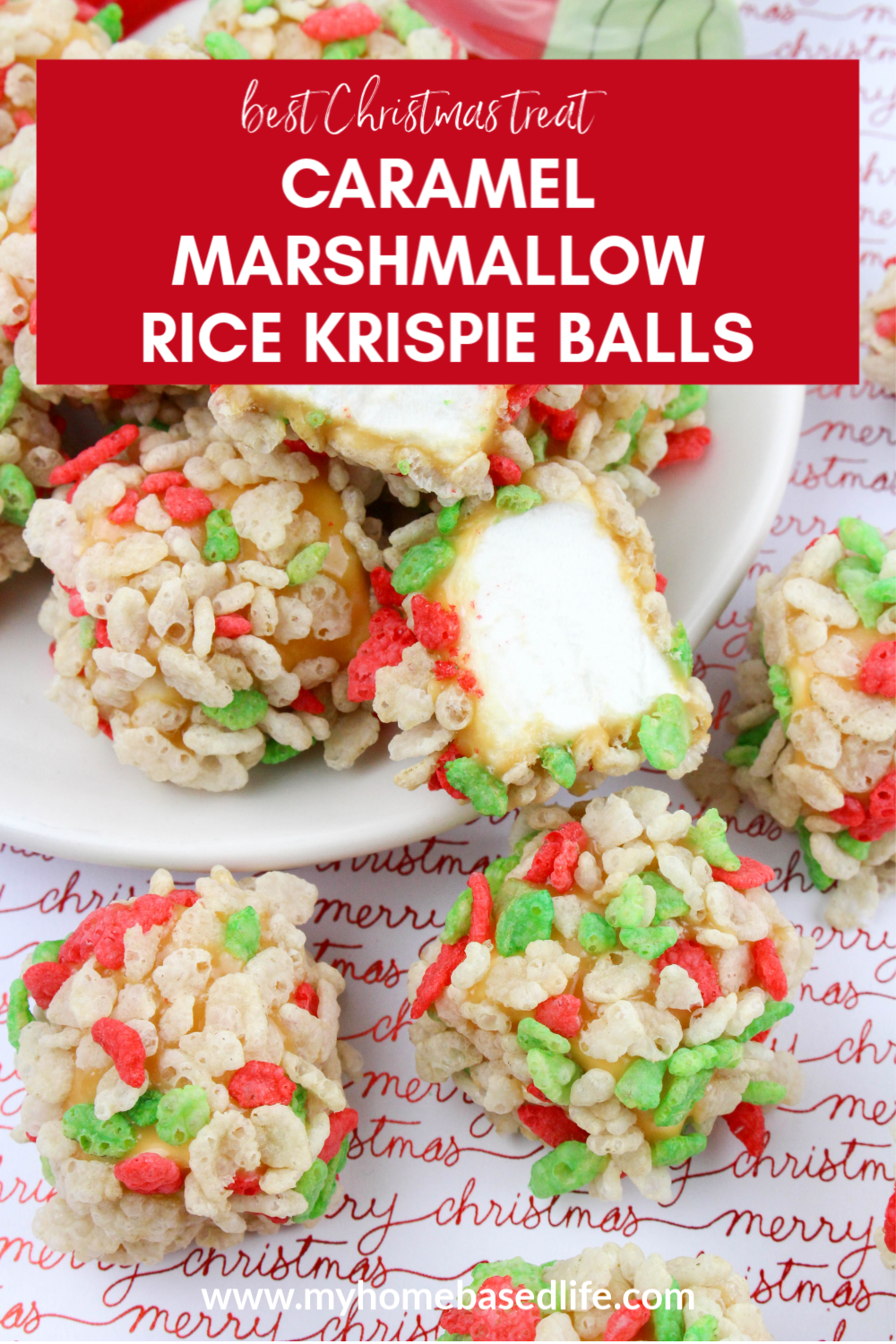 easy Christmas treat recipe caramel marshmallow Rice Krispie balls