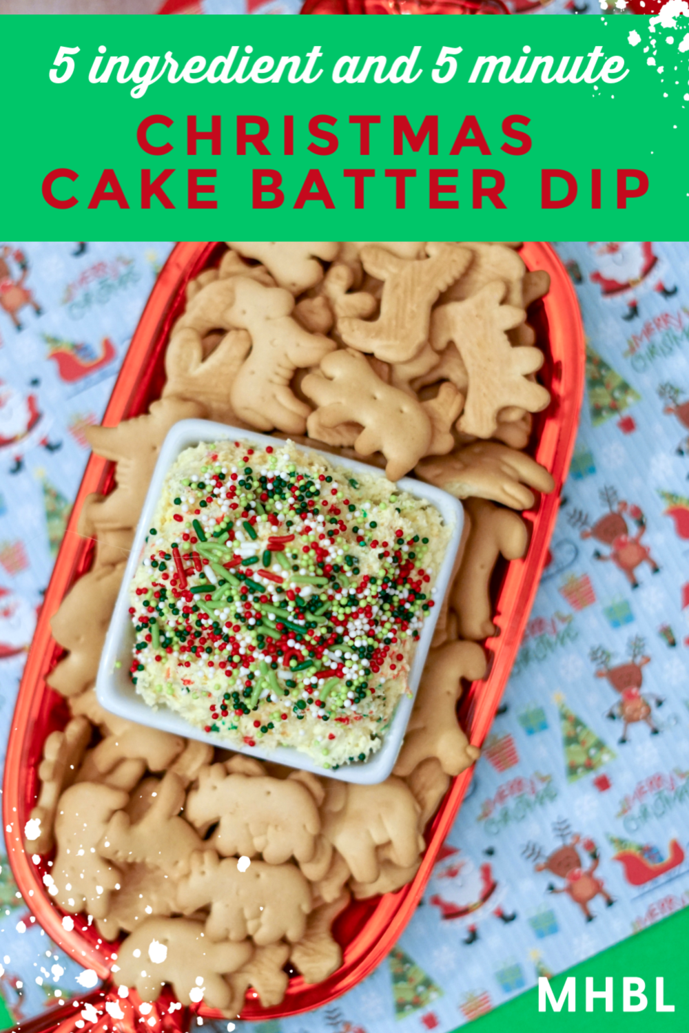 Christmas cake batter dip - an easy holiday dessert with 5 ingredients that take 5 minutes to make