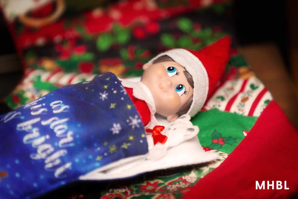 elf on the shelf ideas - elf in a sleeping bag