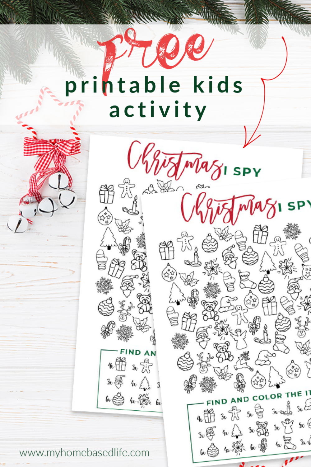 free printable Christmas activity - this Christmas I-spy will keep kids busy for hours.