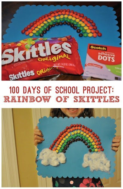 100 days of school rainbow skittle project
