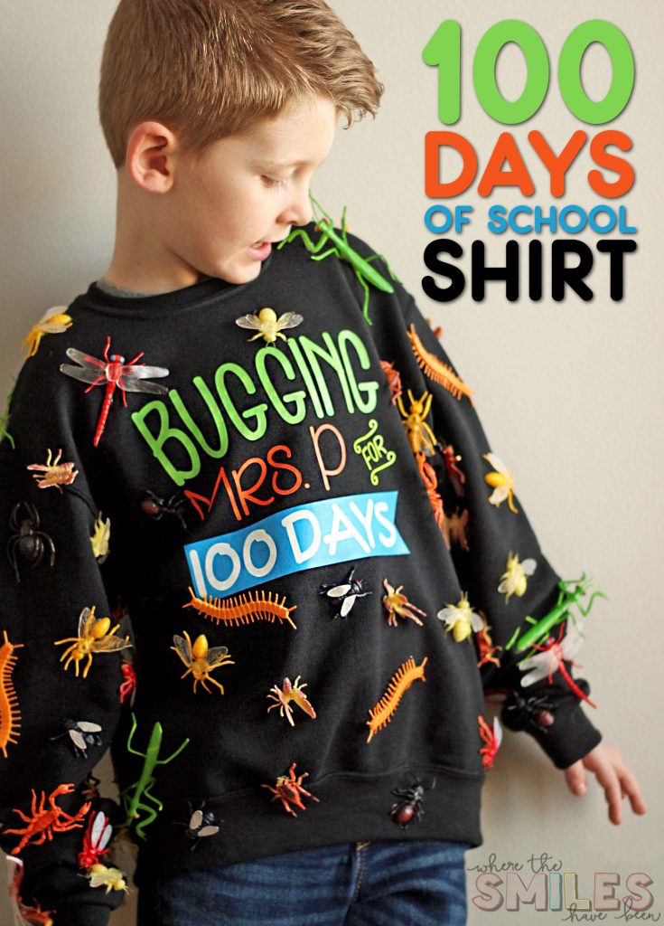 100 bugs on a shirt for 100 days of school