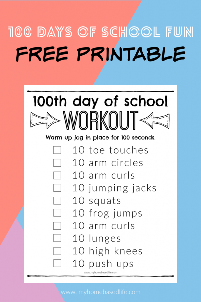 100 days of school printable workout for kids of all ages