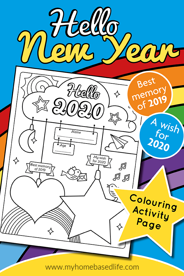 2020 hello new year coloring page and resolutions for kids