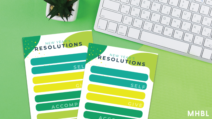 New Year's printable resolution cards for goal setting