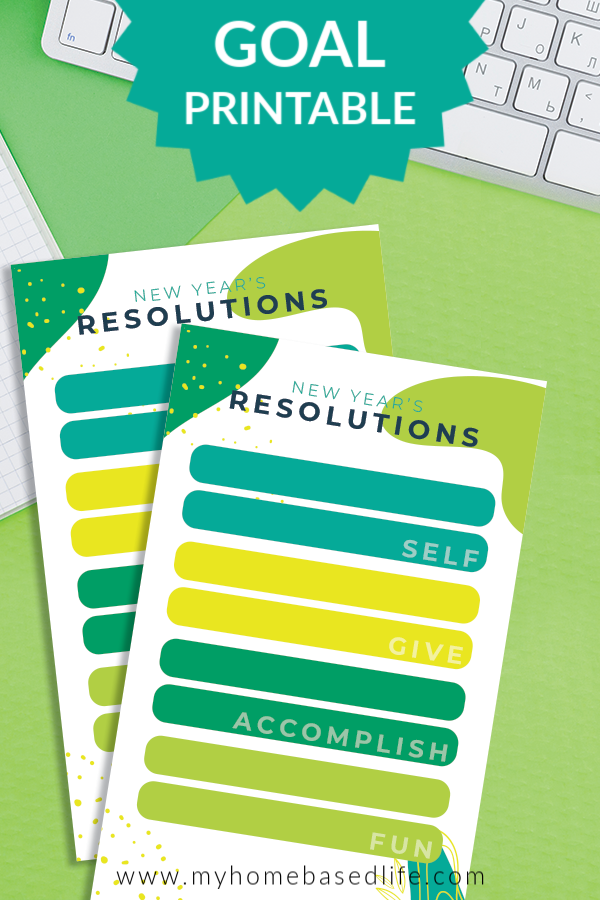 free New Years resolution printable set goals and resolutions