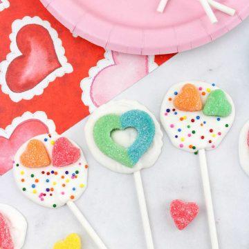Valentine chocolate suckers