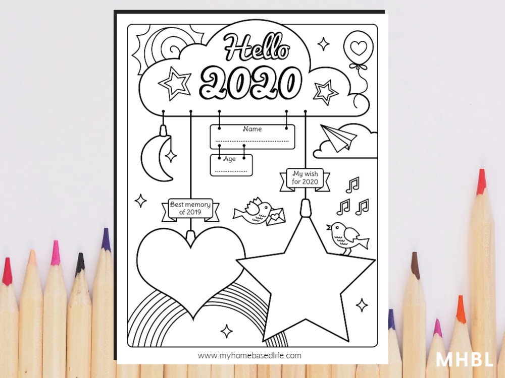 free kids 2020 coloring page - this hello new year printable is fun for kids