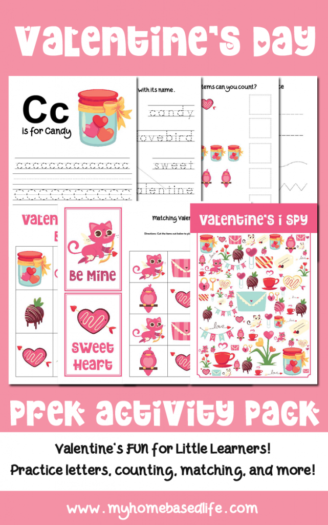 Valentine's Day printable worksheets for preschoolers and early learning
