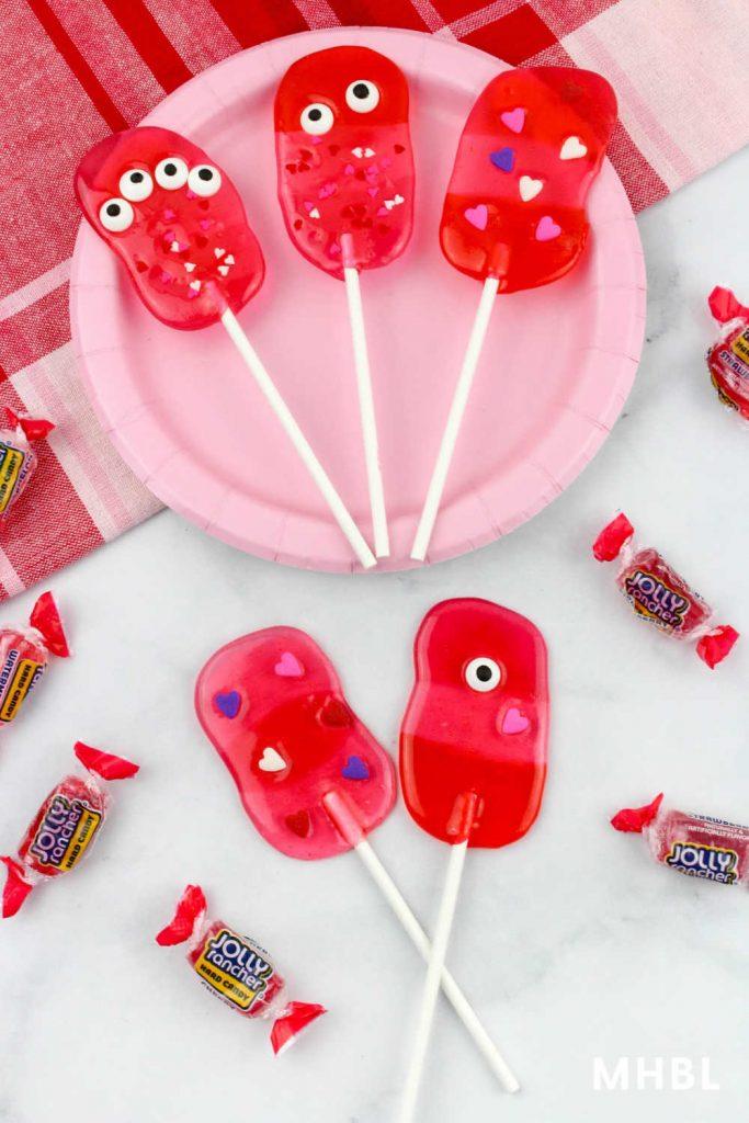 Valentine monster lollipops
