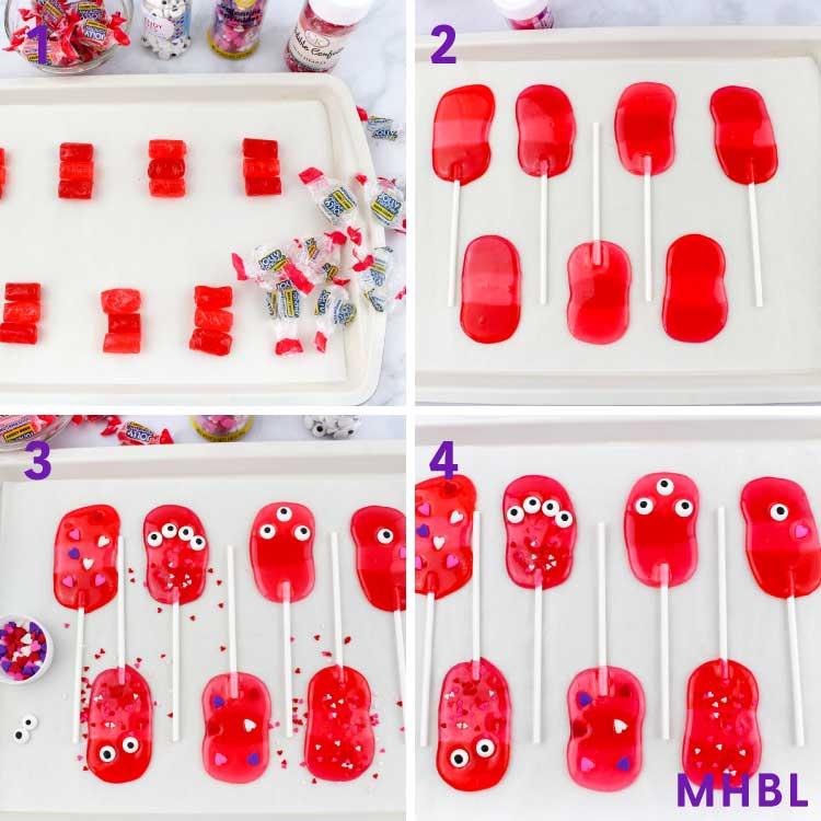 valentine monster lollipops process