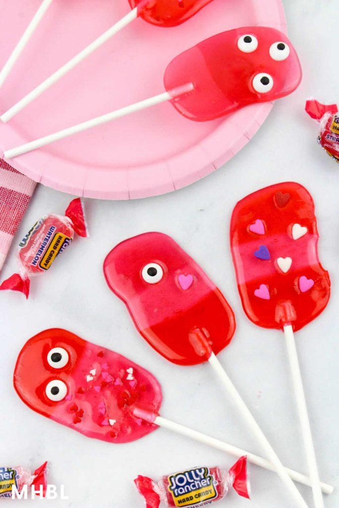 Valentine monster lollipops easy homemade candy treat