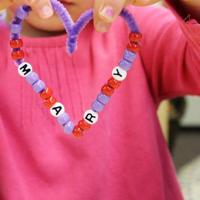 beaded heart valentine craft