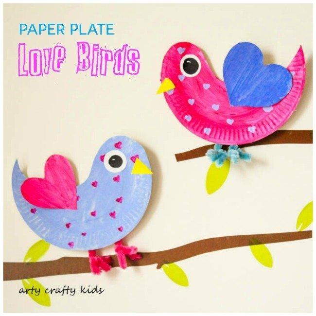 paper plate love birds
