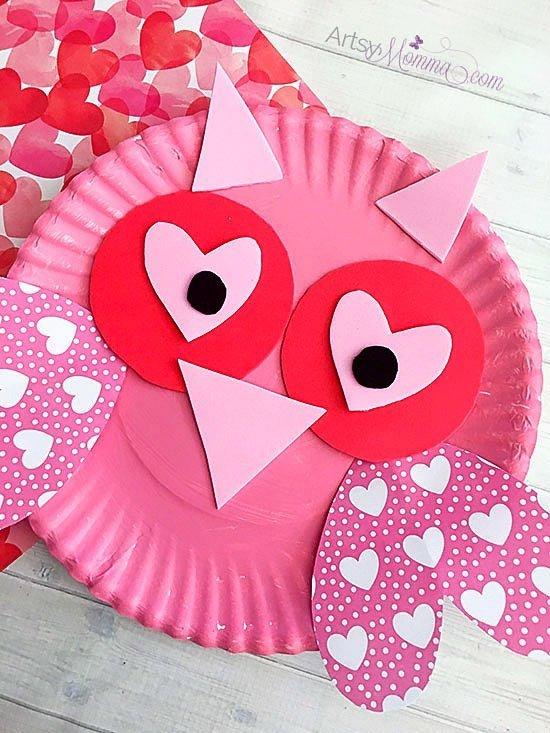 paper plate valentine owl craft