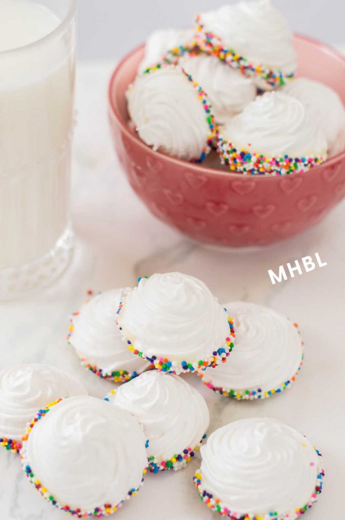 sprinkle dipped meringue cookies