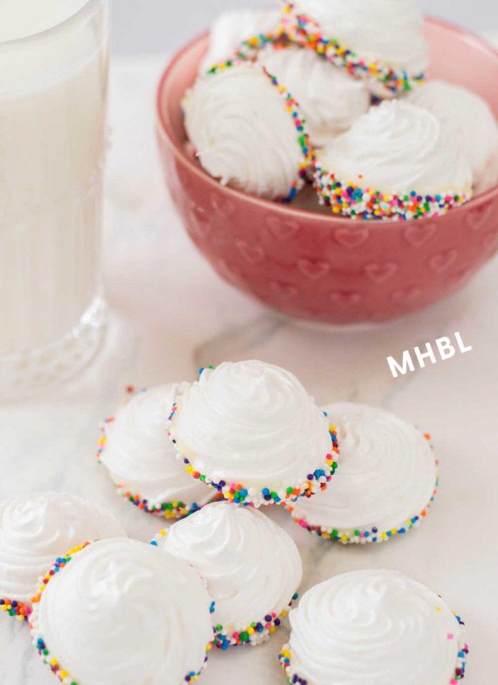 sprinkle dipped meringue cookies