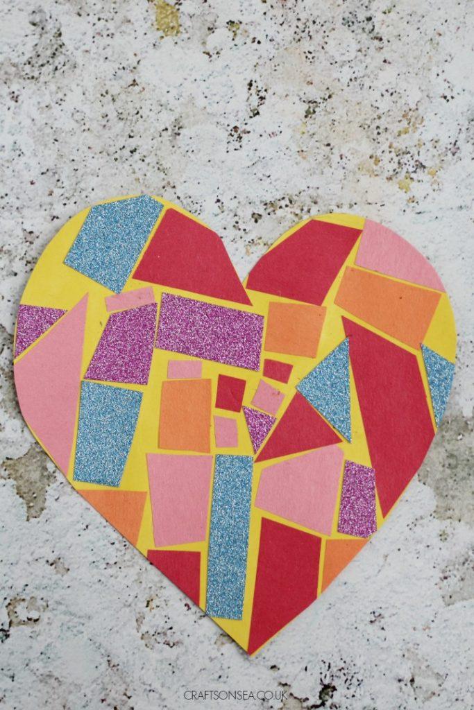 valentine mosaic heart craft for kids