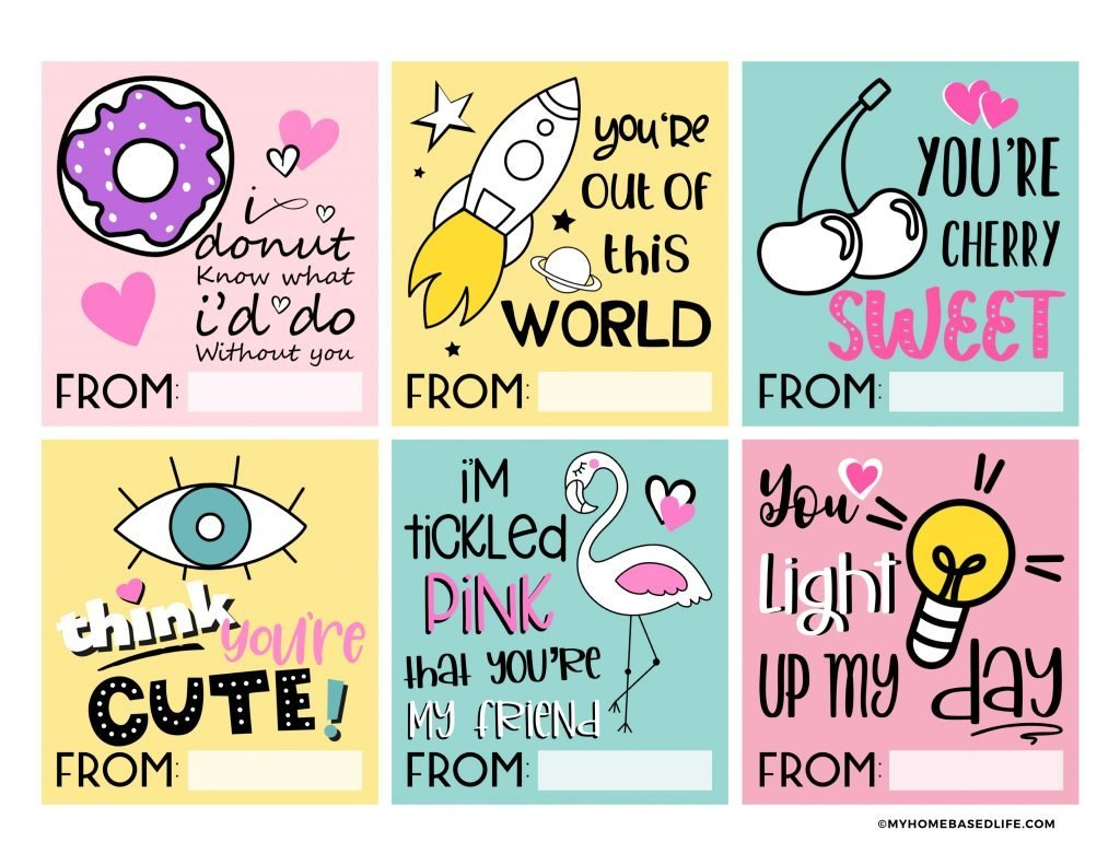 free printable cute and trendy Valentine's Day cards for kids