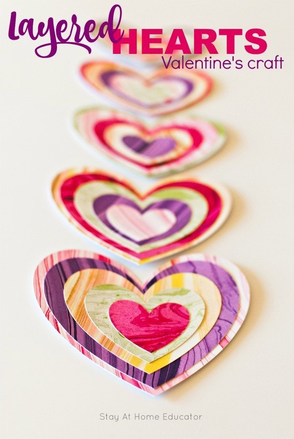 layered hearts craft for Valentines