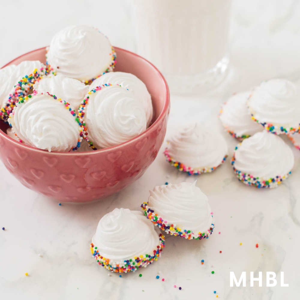 sprinkle and white chocolate meringue cookies