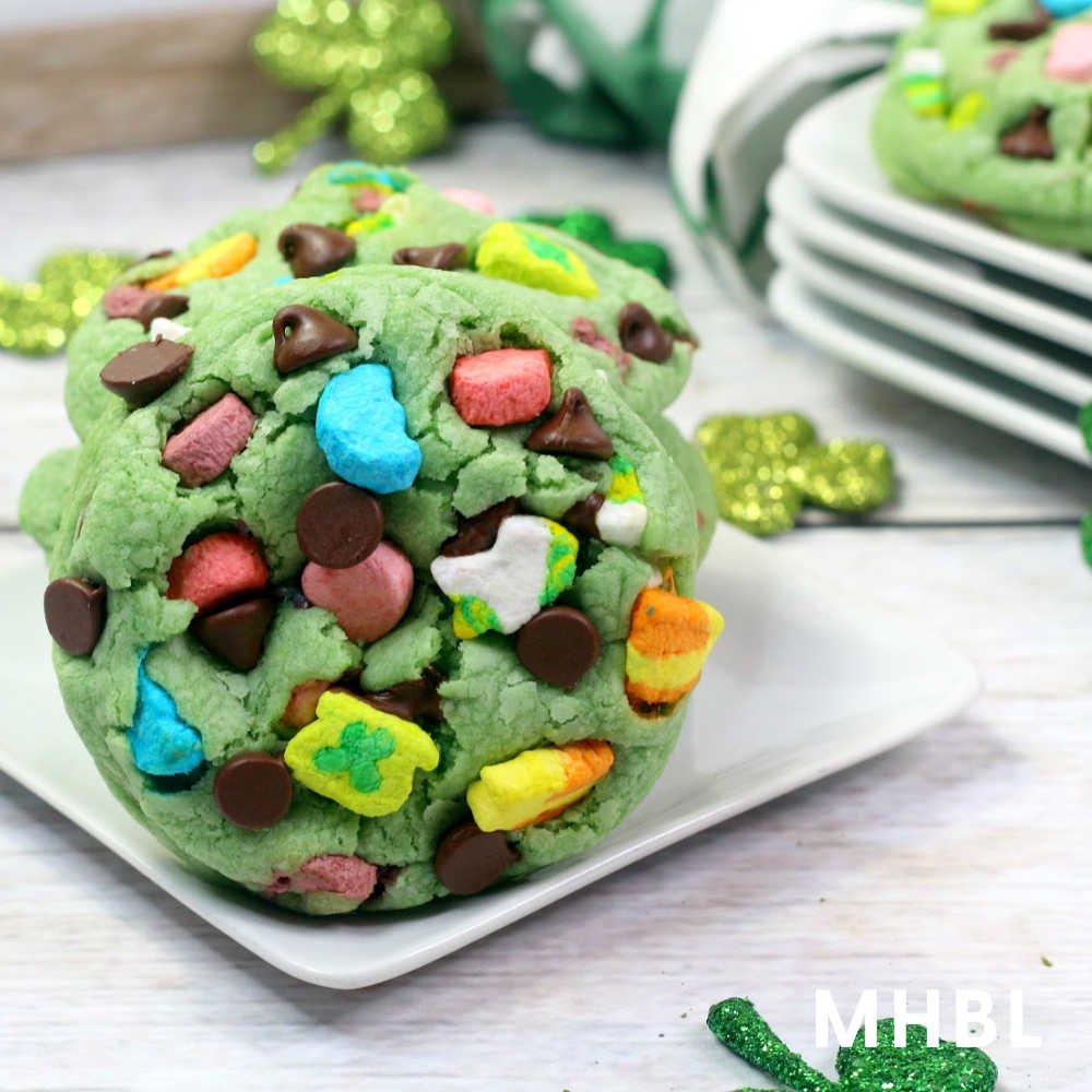 mint chocolate chip lucky charm cookies for St. Patrick's Day