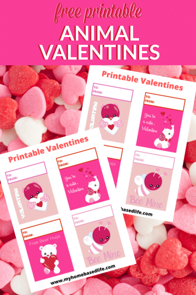 free printable animal Valentine's Day cards