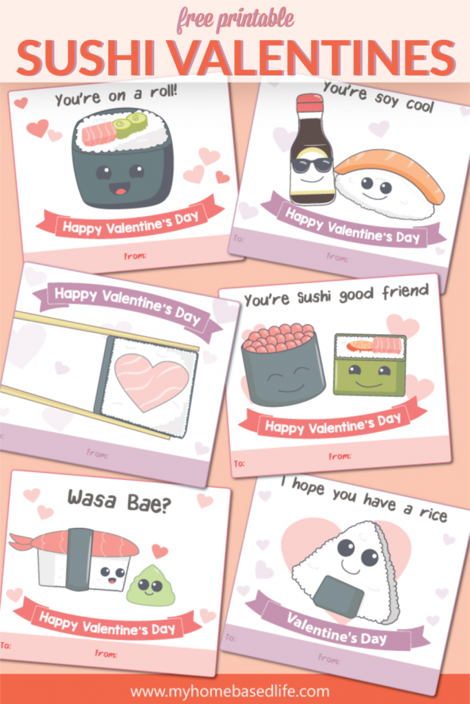 free printable sushi Valentine's Day cards for kids