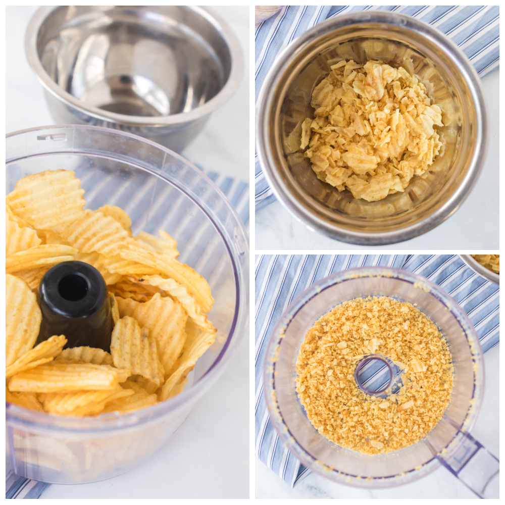 crushing potato chip in food processor