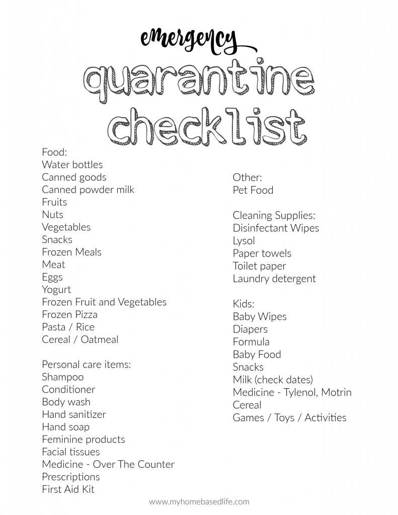 what to buy to prepare for a quarantine
